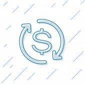 Blue Return Of Investment Line Icon Isolated On White Background. Money Convert Icon. Refund Sign. D poster