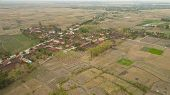 Aerial View Agricultural Land After Harvest. Agricultural Land Farmlands, Fields With Crops, Trees.  poster