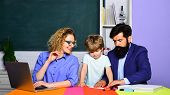 Parenting Education Mathematics Concept. Home Schooling. Family School. Child From Elementary School poster