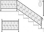 Wrought iron stairs, gate, picket, signage