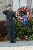 NEW YORK - NOV 11: A ROTC member of St. John's University salutes near a wreath at a Veteran's Day Memorial service at St. John's University November 11, 2005 in Queens, NY.