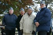 NEW YORK - NOVEMBER 11: Members of the American Martyrs Catholic War Veterans, Post 1772 of Bayside attend a Veteran's Day Memorial service at St. John's University November 11, 2005 in Queens, NY.