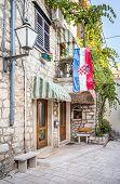 Croatian Flag On A House In Makarska City, Croatia poster