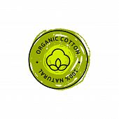 Natural Organic Cotton Liner Labels And Badges And Hand Draw Pencil Texture - Vector Round Icon , St poster