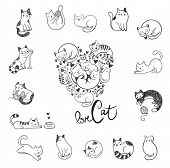 Cute hand-drawn doodle cats with different emotions and cats in the form of heart for the fan of cat poster