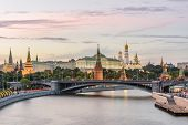 Moscow Kremlin At Sunset, Russia. Panorama Of Moskva River With Ancient Kremlin, Main Landmark Of Mo poster