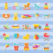 Baby Stickers Of Toys. Vector. Kids Toy Isolated. Baby Shower Stuff In Flat Design. Colorful Cartoon poster