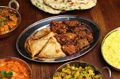 Indian samosas and onion bhajis