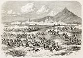 French intervention in Mexico: Atlixco battle (Colonel Brincourt charging General Echegaray Corps).