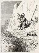 Mowers quarrel old illustration. Created by Girardet, published on L'Illustration, Journal Universel