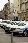 stock photo of police lineup  - metropolitan police cars on streets of zagreb croatia
