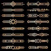 Art Deco Dividers. Gold Deco Design Lines, Golden Book Header Borders. 1920s Victorian Vintage Eleme poster