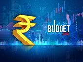 Indian Union Budget 2019, Indian Economy, Finance, Blue Abstract Background, Make In India, Union Bu poster