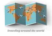 Travel By Plane. Traveling Around The World. Map Travel By Plane Around The World. Plane Travel Arou poster