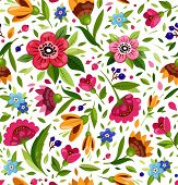 Vector Seamless Flower Pattern. Cute Floral Pattern With Colorful Flowers, Berry, Leaves. White Back poster