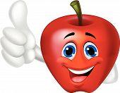 Apple cartoon with thumb up