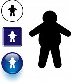 overweight man symbol sign and button