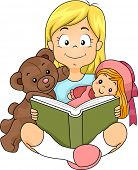 Illustration of a Girl Reading a Story to Her Toys