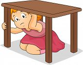 Illustration of a Girl Hiding Under a Table