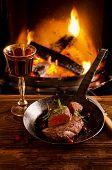 beef steaks in the pan