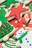foto of christmas cookie  - Pile of assorted christmas cookies freshly baked - JPG