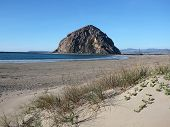Morro rock and sand dune