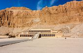 image of hatshepsut  - The entrance to the desert temple of Queen Hatshepsut near the Egyptian city of Luxor - JPG