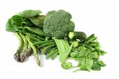 picture of mange-toute  - Green vegetables on white background - JPG
