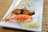 Close up shot of Sushi rolls