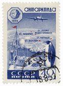 Forschungsstation in der Antarktis auf Post-Stempel