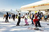 Skiers At Kronplatz Ski Resort