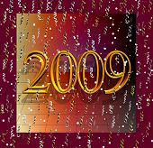Gold 2009 On A Grid With Tinsel Falling