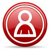 red glossy circle web icon on white background with shadow