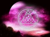 stock photo of pagan  - Occult symbols on a full moon background - JPG