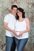 Couple in studio - 8 month Pregnancy photos