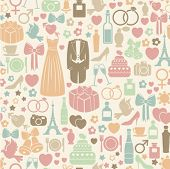 seamless pattern with colorful wedding icons