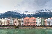 stock photo of row houses  - Row of Houses in Innsbruck - JPG