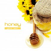 Full honey pot and honey stick over white and flowers. With easy removable sample text