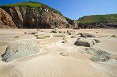 Rock formation at Greve de Lecq Beach, Jersey, UK
