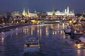 Kremlin Frozen River In Winter