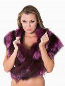 Woman wearing purple fur stole
