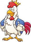 Cartoon king chicken. Vector clip art illustration with simple gradients. All in a single layer.