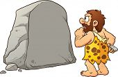 Caveman looking at a large rock and thinking. Vector clip art illustration with simple gradients. Ro
