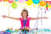 stock photo of fancy cake  - child kid crown princess in birthday party happy gesture and chocolate cake - JPG