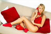 Sexy Blonde Girl With Red Phone
