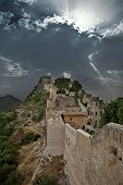 stock photo of suny  - Castle of Xativa in Spayn in unusual suny day - JPG