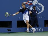 Professional tennis player Richard Gasquet during his semifinal match at US Open 2013