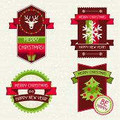Merry Christmas banners, ribbons and badges.