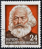 A Stamp Printed In Germany Shows Karl Marx