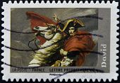 A stamp printed in France shows Napoleon at the Saint-Bernard Pass (fragment) by David